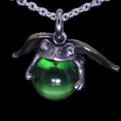 【龍頭】<br />天使蛙玉ペンダントトップ<br>(Green  Glass)<br />- メンズ ペンダント -