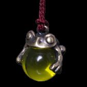 【龍頭】<br>蛙玉根付 真鍮 Yellow Glass