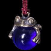 【龍頭】<br>蛙玉根付 真鍮 Cobalt Glass