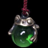 【龍頭】<br>蛙玉根付 真鍮 Green Glass