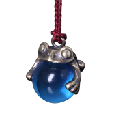 【龍頭】<br>蛙玉根付 真鍮 Blue Glass