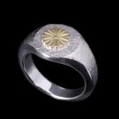 【龍頭】<br>岩石菊印台リング 丸<br />- メンズ 指輪 リング -