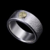 【龍頭】<br>岩石菊平打ちリング<br />- メンズ 指輪 リング -