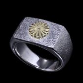 【龍頭】<br>岩石菊印台リング 菊:K18<br />- メンズ 指輪 リング -