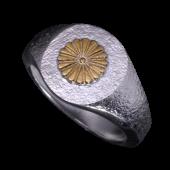 【龍頭】<br />岩石菊印台リング<br>菊:K18 <br />- メンズ 指輪 リング -