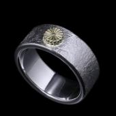 【龍頭】<br>岩石菊平打ちリング 菊:K18<br />- メンズ 指輪 リング -
