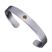 【龍頭】<br />岩石菊平打ちバングル<br />銀×真鍮<br />- メンズ バングル -