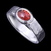 【龍頭】<br>丸鎚目リング 石付き 幅5mm<br />- メンズ 指輪 リング -