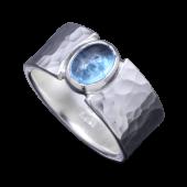 【龍頭】<br>丸鎚目リング 石付き 幅10mm<br />- メンズ 指輪 リング -