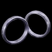 【龍頭】<br>丸鎚目×小花鎚目リング<br>二連 幅3mm×2<br />- メンズ 指輪 リング -