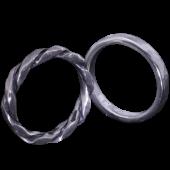 【龍頭】<br>丸鎚目×ツイストリング<br>二連 幅3mm×2<br />- メンズ 指輪 リング -
