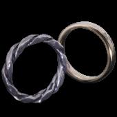 【龍頭】<br>K18 丸鎚目×ツイストリング<br>二連 幅3mm×2<br />- メンズ 指輪 リング -