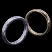 【龍頭】<br>K18 丸鎚目×チリ目鎚目リング<br>二連 幅3mm×2<br />- メンズ 指輪 リング -