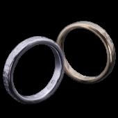 【龍頭】<br>K18 丸鎚目×籠目鎚目リング<br>二連 幅3mm×2<br />- メンズ 指輪 リング -