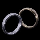【龍頭】<br>K18 丸鎚目×小花鎚目リング<br>二連 幅3mm×2<br />- メンズ 指輪 リング -