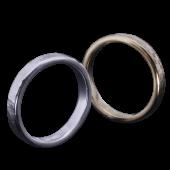 【龍頭】<br>K18 丸鎚目×岩石丸鎚目リング<br>二連 幅3mm×2<br />- メンズ 指輪 リング -