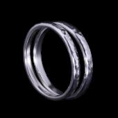 【龍頭】<br />甲丸丸鎚目リング<br>二連 幅2mm<br />- メンズ 指輪 リング -
