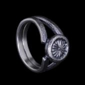 【龍頭】<br>岩石リング <br>(菊スタンプ)<br />- メンズ 指輪 リング -