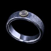 【龍頭】<br>岩石菊平打ちリング <br />- メンズ 指輪 リング -