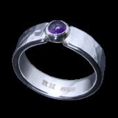 【龍頭】<br>丸鎚目リング 幅5mm<br>アメジスト<br />- メンズ 指輪 リング -