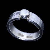 【龍頭】<br>丸鎚目リング 幅5mm<br>ムーンストーン<br />- メンズ 指輪 リング -