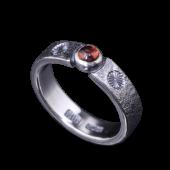 【龍頭】<br>岩石菊平打ちリング<br>幅5mm 石付き<br />- メンズ 指輪 リング -