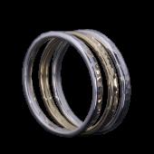 【龍頭】<br>K18 丸鎚目リング<br>幅2mm / 2mm×2<br />- メンズ 指輪 リング -