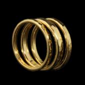 【龍頭】<br>K18 丸鎚目リング<br>幅3mm / 2mm×2<br />- メンズ 指輪 リング -
