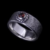 【龍頭】<br>岩石鎚目リング 銀縄<br>- メンズ 指輪 リング -