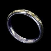 【龍頭】<br>甲丸丸鎚目リング 幅3mm<br />シルバー×K18<br />- メンズ 指輪 リング -