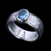 【龍頭】<br>甲丸丸鎚目リング<br />幅8mm 石付<br />- メンズ 指輪 リング -
