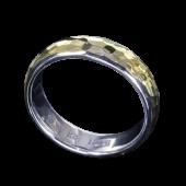 【龍頭】<br>甲丸丸鎚目リング 幅5mm<br />シルバー×K18<br />- メンズ 指輪 リング -