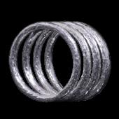 【龍頭】<br>ラウンド岩石鎚目リング<br />2mm 4連<br />- メンズ 指輪 リング -