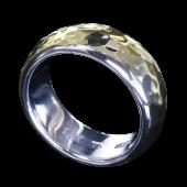 【龍頭】<br>甲丸丸鎚目リング 幅8mm<br />シルバー×K18<br />- メンズ 指輪 リング -