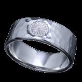 【龍頭】<br>菊紋丸鎚目リング 幅8mm<br />- メンズ 指輪 リング -