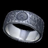 【龍頭】<br>菊紋岩石丸鎚目リング 幅8mm<br />- メンズ 指輪 リング -