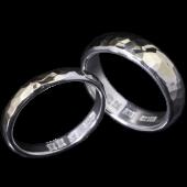 【龍頭】<br>甲丸丸鎚目ペアリング 3mm&5mm<br />シルバー×K18<br />- メンズ 指輪 リング -