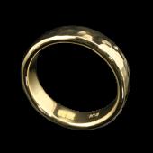 【龍頭】<br>K18 丸鎚目リング 幅5mm<br />- メンズ 指輪 リング -