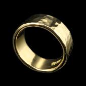 【龍頭】<br>K18 丸鎚目リング 幅8mm<br />- メンズ 指輪 リング -