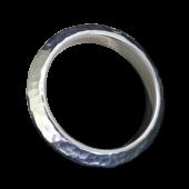 【龍頭】<br>三角丸鎚目リング 幅5mm<br />K18×シルバー<br />- メンズ 指輪 リング -