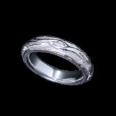 【龍頭】<br />平打ち火焔リング<br>白仕上げ<br />- メンズ 指輪 リング -
