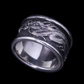 【龍頭】<br />龍指輪 中<br />- メンズ 指輪 リング -