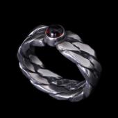 【龍頭】<br />ツイストダブルリング 石付<br />- メンズ 指輪 リング -