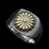 【龍頭】<br />菊印台リング<br />菊:K18<br />- メンズ 指輪 リング -