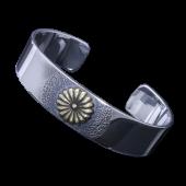 【龍頭】<br />菊バングル<br>銀×真鍮<br />- メンズ バングル -
