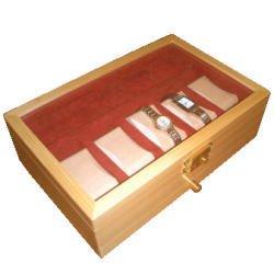 木製高級時計ケース 白木 引き出し付き