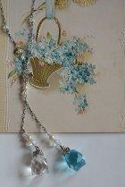 ブルー&クリアガラスのネックレス