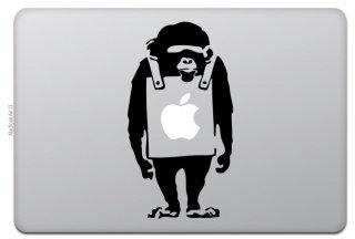 オーダーメード対応★MacBook 対応 アートステッカー Banksy バンクシー Monkey モンキー ブラック