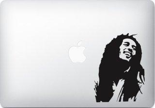 WOLFING MacBook ステッカー オーダーメード対応★アートステッカー Bob Marley ボブマーリー ブラック