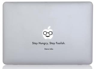 WOLFING MacBook ステッカー オーダーメード対応★ アートステッカー Steve Jobs スティーブ ジョブス  Stay Hungry Stay Foolish ブラック